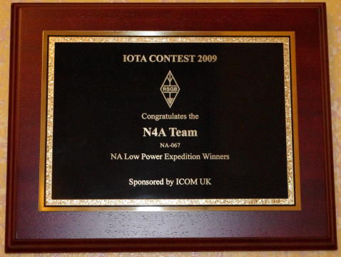 NA Expedition 1st Place Plaque, 2009 IOTA