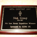 The RSGB Plague fro N4A win in the 2007 IOTA NA Low Power Expedition class