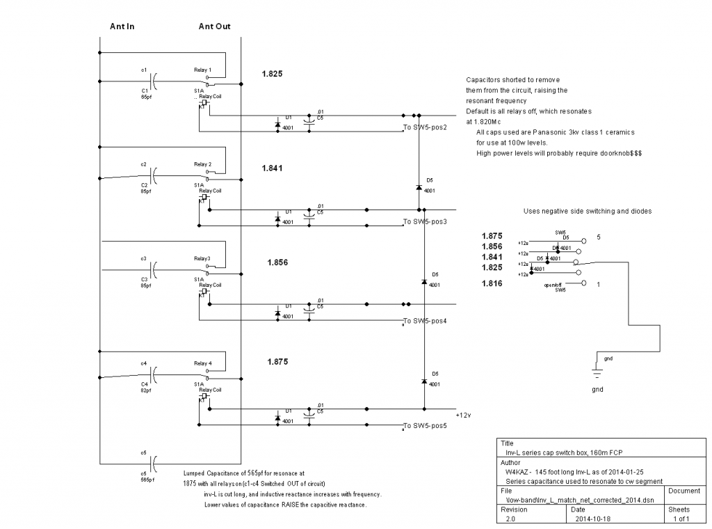 Schematic for W4KAZ 160m inverted L with K2AV FCP