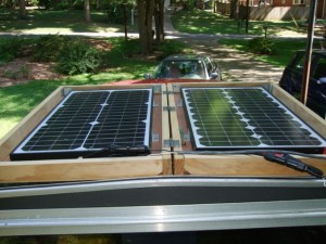 Solar panels, laid out on a conveniently parked truck