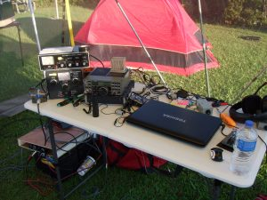 The W4O station, an Elecraft K2, a couple of tuners and logging laptop